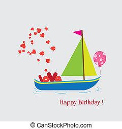 feliz, feriado, con, barco