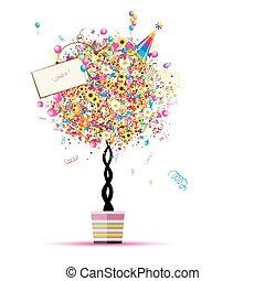 feliz, feriado, divertido, árbol, con, globos, en, olla, para, su, diseño