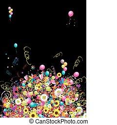 feliz, feriado, engraçado, fundo, com, balões, para, seu, desenho