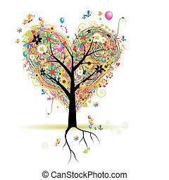 feliz, feriado, forma corazón, árbol, con, globos