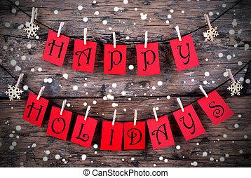 feliz, feriado, invernal, etiquetas