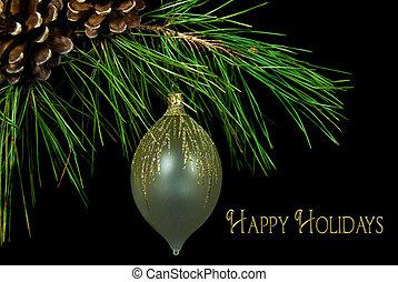 feliz, feriado, ornamento