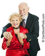 feliz, feriado, pareja mayor