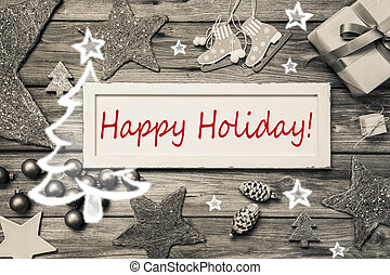 feliz, feriado, -, roto, chique, estilo, cartão natal, em,...