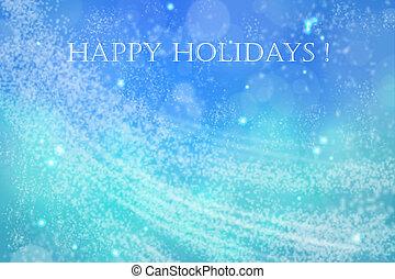 feliz, feriados, azul, espaço, cartão