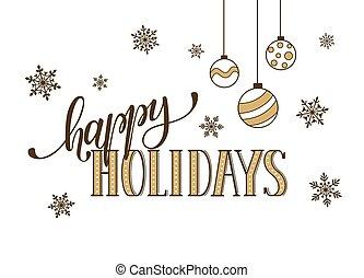 feliz, feriados, cartão cumprimento