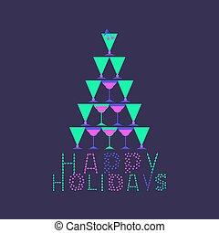 feliz, feriados, cartão