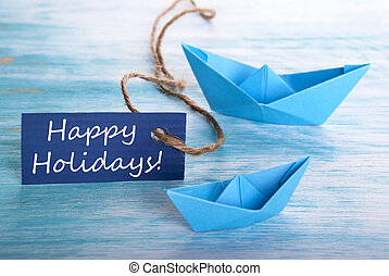 feliz, feriados, com, barcos