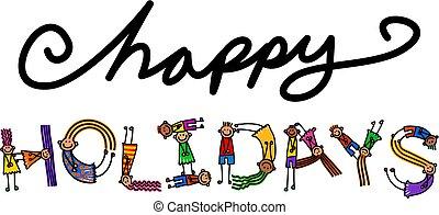feliz, feriados, crianças, título, texto