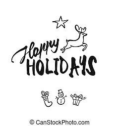 feliz, feriados, lettering