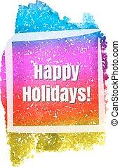 feliz, feriados, quadro