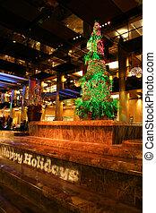 feliz, feriados, sinal, e, árvore