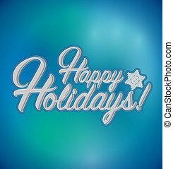 feliz, feriados, sinal, experiência azul