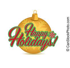 feliz, feriados, sinal, ouro, ornamento