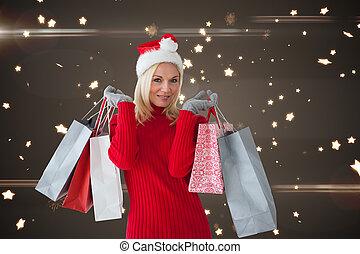 feliz, festivo, loiro, com, shopping