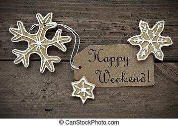 feliz, fim semana, tag, com, gengibre, pães