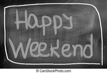 feliz, fin de semana, concepto