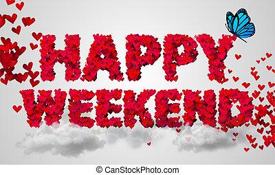 feliz, fin de semana, partículas, corazón rojo