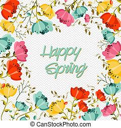 feliz, flor de primavera, tarjeta de felicitación