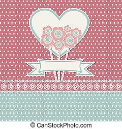 feliz, flores, dia, cartão, mães