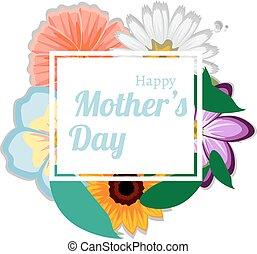 feliz, flores, fundo, mães