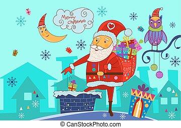 feliz, fundo, presente, através, santa, pôr, feriado, lareira, natal, chaminé, celebração