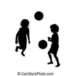 feliz, futebol, tocando, crianças