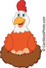 feliz, gallina, caricatura, con, huevos, en, nido