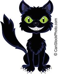 feliz, gato preto, sentando