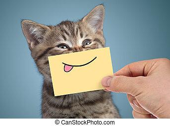 feliz, gato, retrato, com, engraçado, sorrizo, e, língua