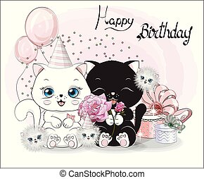 feliz, gatos, aniversário