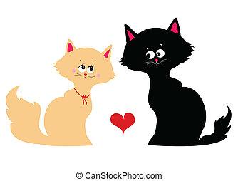 feliz, gatos, apaixonadas