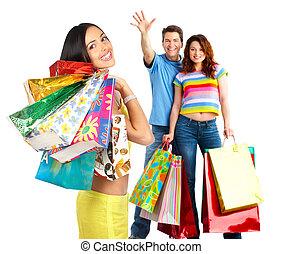 feliz, gente, compras