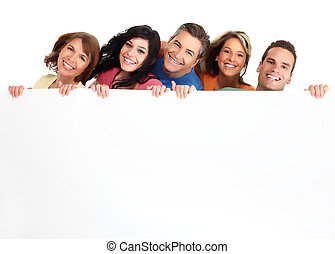 feliz, gente, con, banner.