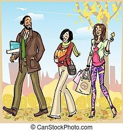 feliz, gente, con, bolsas de compras