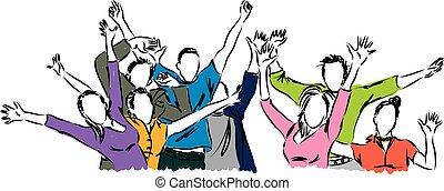 feliz, gente, ilustración