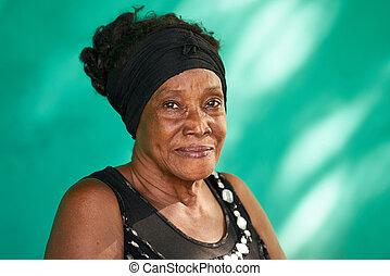 feliz, gente, retrato, norteamericano, anciano, africano, verdadero, mujer