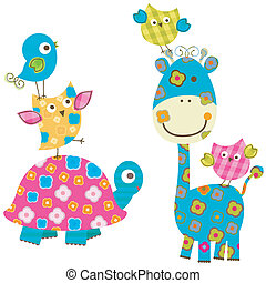 feliz, girafa, pássaros, &
