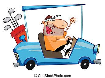 feliz, golfista, conduce, carro del golf
