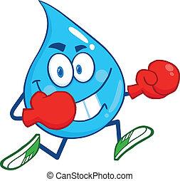 feliz, gota agua, con, guantes de boxeo