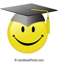 feliz, graduación, cara sonriente, diplomado gorra, botón