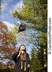 feliz, graduación, niña
