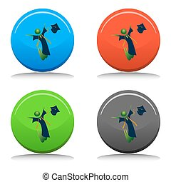 feliz, graduado, botão