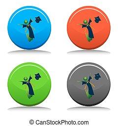 feliz, graduado, botón