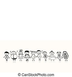 feliz, grande, família, sorrindo, junto, desenho, esboço