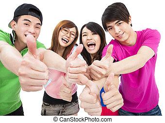feliz, grupo, cima, polegares, jovem