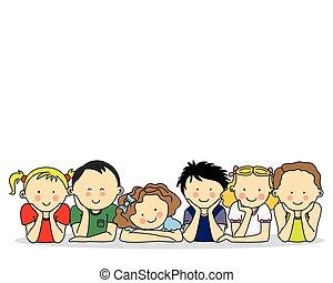 feliz, grupo, crianças