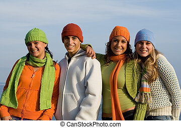 feliz, grupo, de, adolescentes, juventude, adolescente
