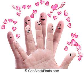 feliz, grupo, de, dedo, caras, con, su, amor, ofrecimiento