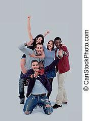 feliz, grupo de las personas, con, brazos up, -, aislado, encima, blanco